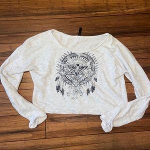 Tillys Full Tilt Crop Print Sweater